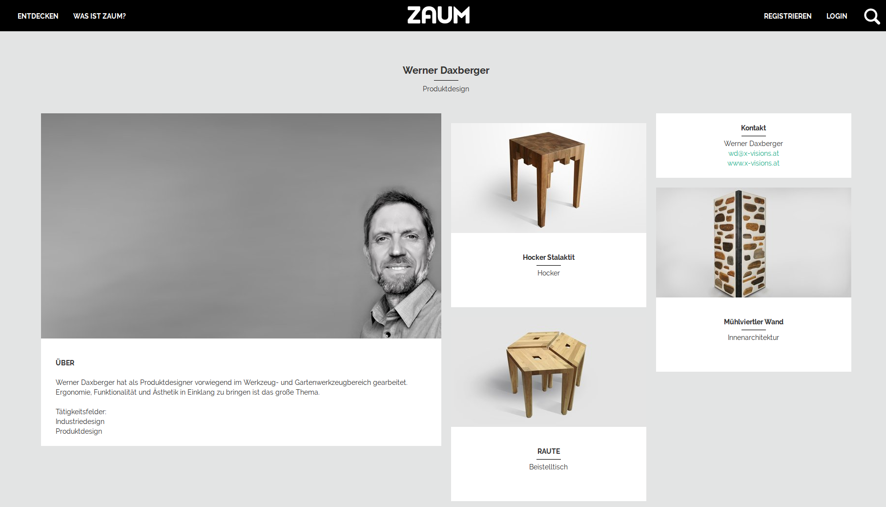ZAUM online platform for presentation of products and ideas